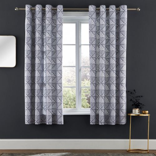 Catherine Lansfield Art Deco Grey Eyelet Curtains